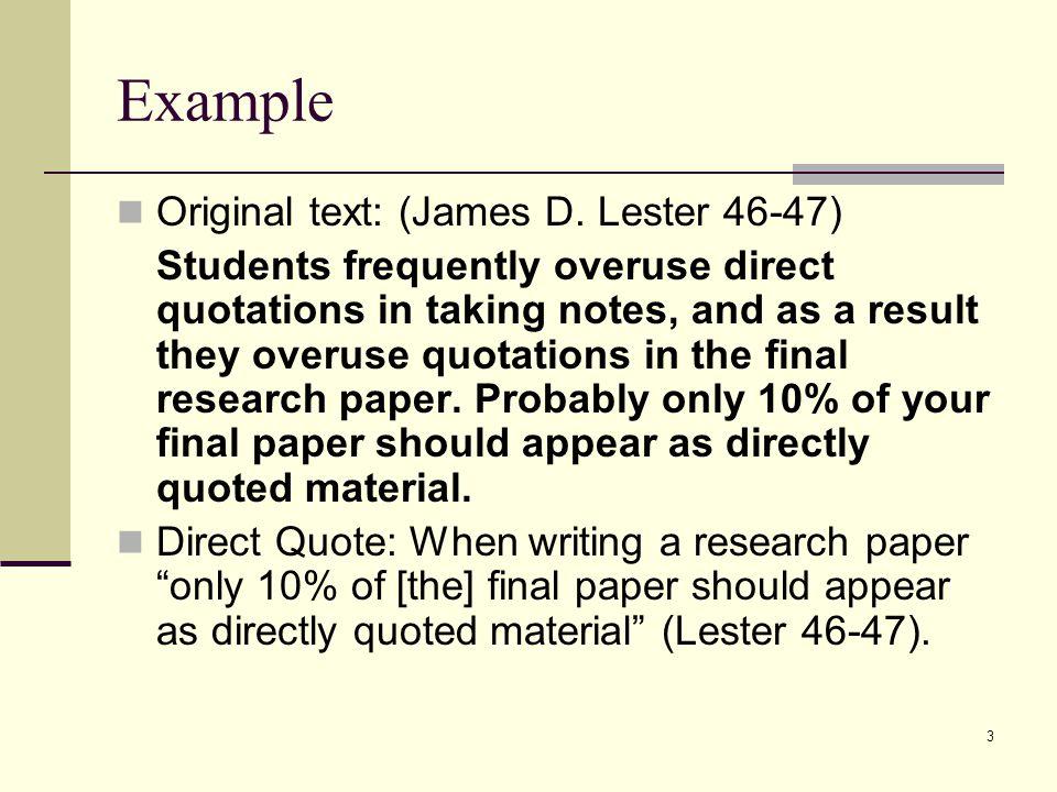 Example Original text: (James D.