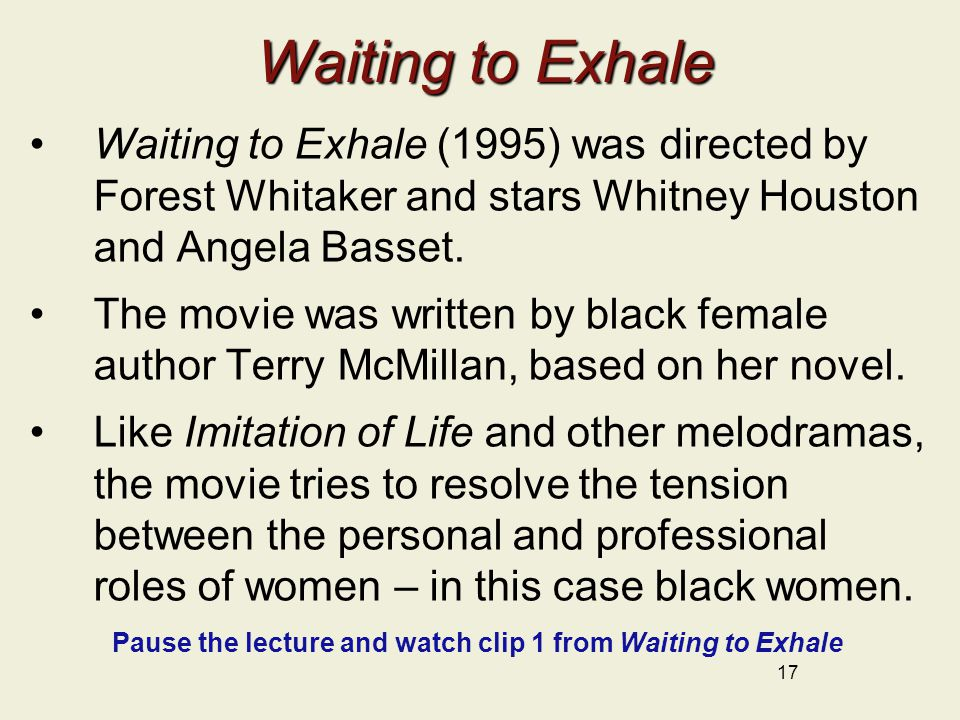 Waiting to Exhale Waiting to Exhale Waiting to Exhale (1995) was directed by Forest Whitaker and stars Whitney Houston and Angela Basset. The movie wa