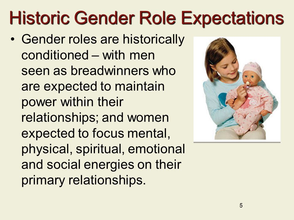 Historic Gender Role Expectations Gender roles are historically conditioned – with men seen as breadwinners who are expected to maintain power within their relationships; and women expected to focus mental, physical, spiritual, emotional and social energies on their primary relationships.