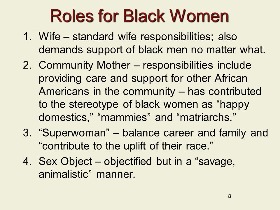 Roles for Black Women 1.Wife – standard wife responsibilities; also demands support of black men no matter what.