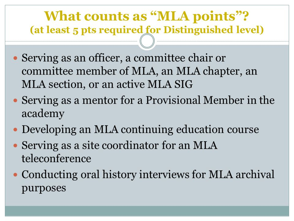 What counts as MLA points .