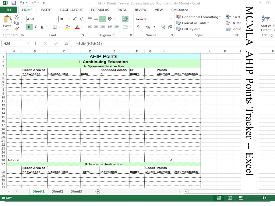 MCMLA AHIP Points Tracker -- Excel