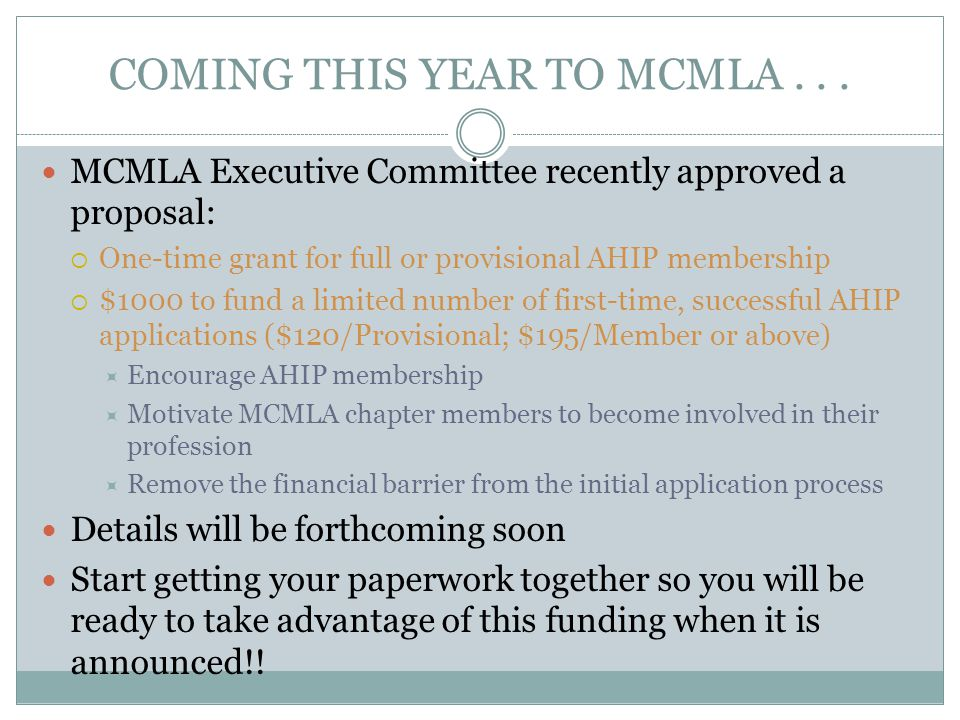 COMING THIS YEAR TO MCMLA...