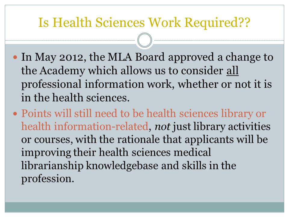 Is Health Sciences Work Required .
