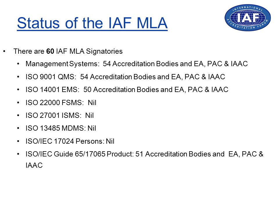 Status of the IAF MLA There are 60 IAF MLA Signatories Management Systems: 54 Accreditation Bodies and EA, PAC & IAAC ISO 9001 QMS: 54 Accreditation Bodies and EA, PAC & IAAC ISO 14001 EMS: 50 Accreditation Bodies and EA, PAC & IAAC ISO 22000 FSMS: Nil ISO 27001 ISMS: Nil ISO 13485 MDMS: Nil ISO/IEC 17024 Persons: Nil ISO/IEC Guide 65/17065 Product: 51 Accreditation Bodies and EA, PAC & IAAC