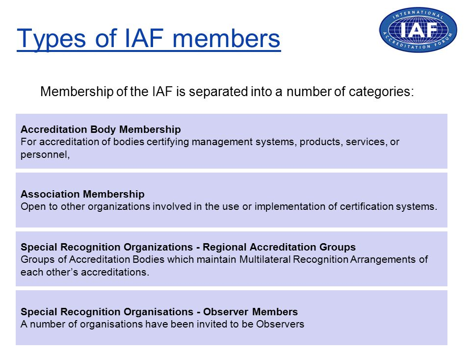 The IAF MLA Mark Use by Accredited CBs Licensees can sub-license use of mark to accredited CBs for sub-scopes (currently for ISO 9001 or ISO 14001 only) CBs cannot use the IAF MLA Mark in isolation from the accreditation symbol.