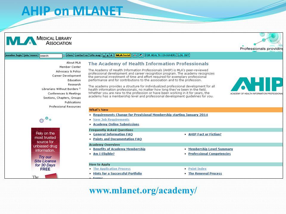 AHIP on MLANET www.mlanet.org/academy/