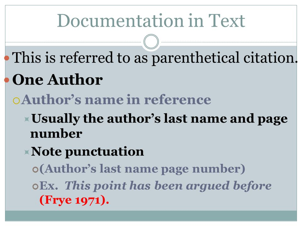 Two Authors Authors' names in reference  Alphabetically by last name and page number  Note punctuation  (Author's last name and Author's last name page number)  Ex.