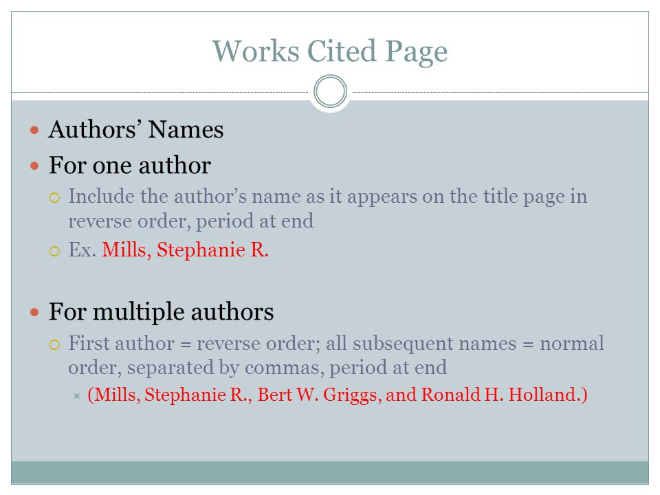 Works Cited Page Capitalization of Titles  Capitalize all major words and the first and last words of all titles and subtitles  Don't capitalize articles (a, an, the), prepositions (by, with, from), or coordinating conjunctions (and, but, for, nor, yet, or, so)  Underline the title, but not the period at the end.