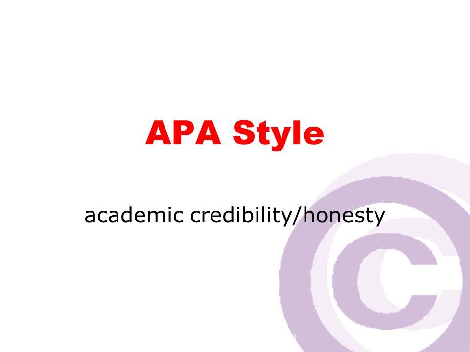 Cawthra Park S. S. (sept 2008) APA Style academic credibility/honesty