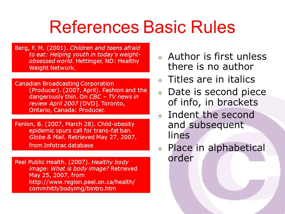 Cawthra Park S. S. (sept 2008) References Basic Rules  Author is first unless there is no author  Titles are in italics  Date is second piece of in