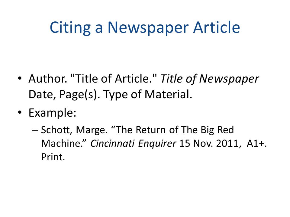 Citing a Website Author. Title of the Web Page. Title of the Overall Web Site.