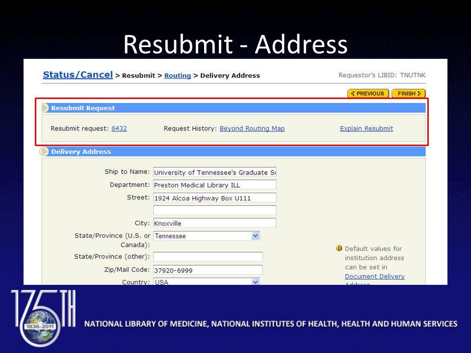 Resubmit - Address