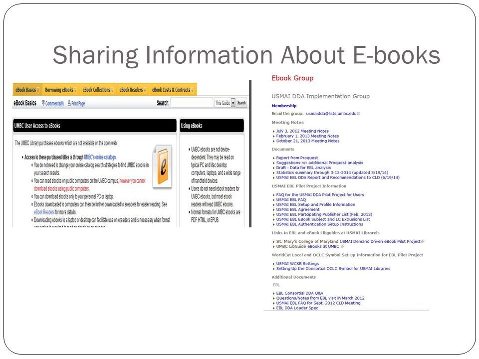 Sharing Information About E-books
