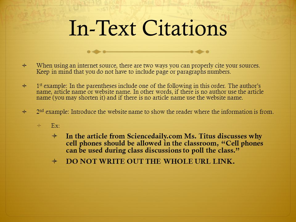 Mla citation of website in text
