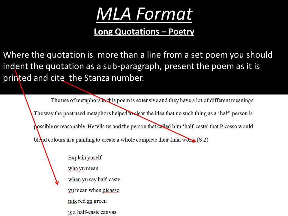 MLA Format Long Quotations – Poetry Where the quotation is more than a line from a set poem you should indent the quotation as a sub-paragraph, presen