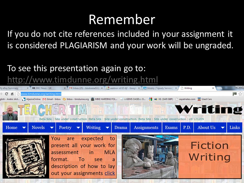 Remember If you do not cite references included in your assignment it is considered PLAGIARISM and your work will be ungraded. To see this presentatio