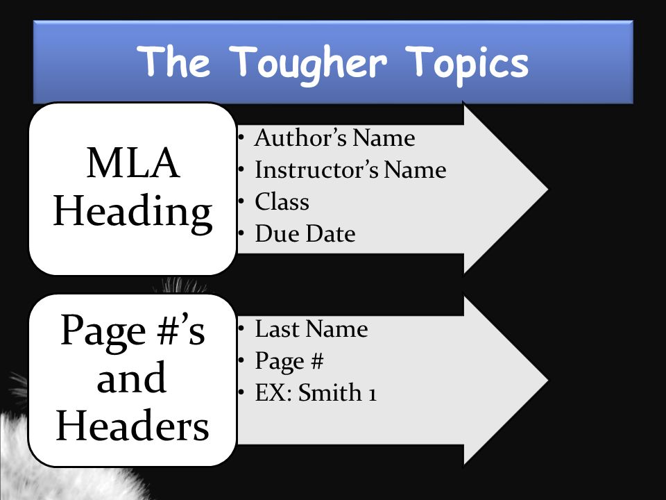 The Tougher Topics Author's Name Instructor's Name Class Due Date MLA Heading Last Name Page # EX: Smith 1 Page #'s and Headers