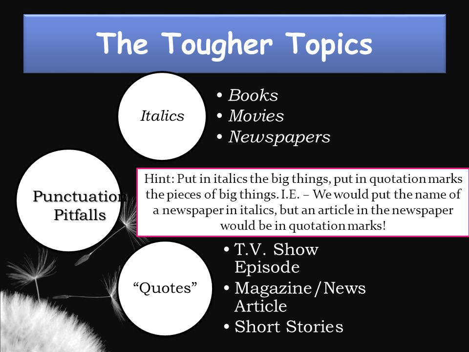 The Tougher Topics Italics Books Movies Newspapers Quotes T.V.