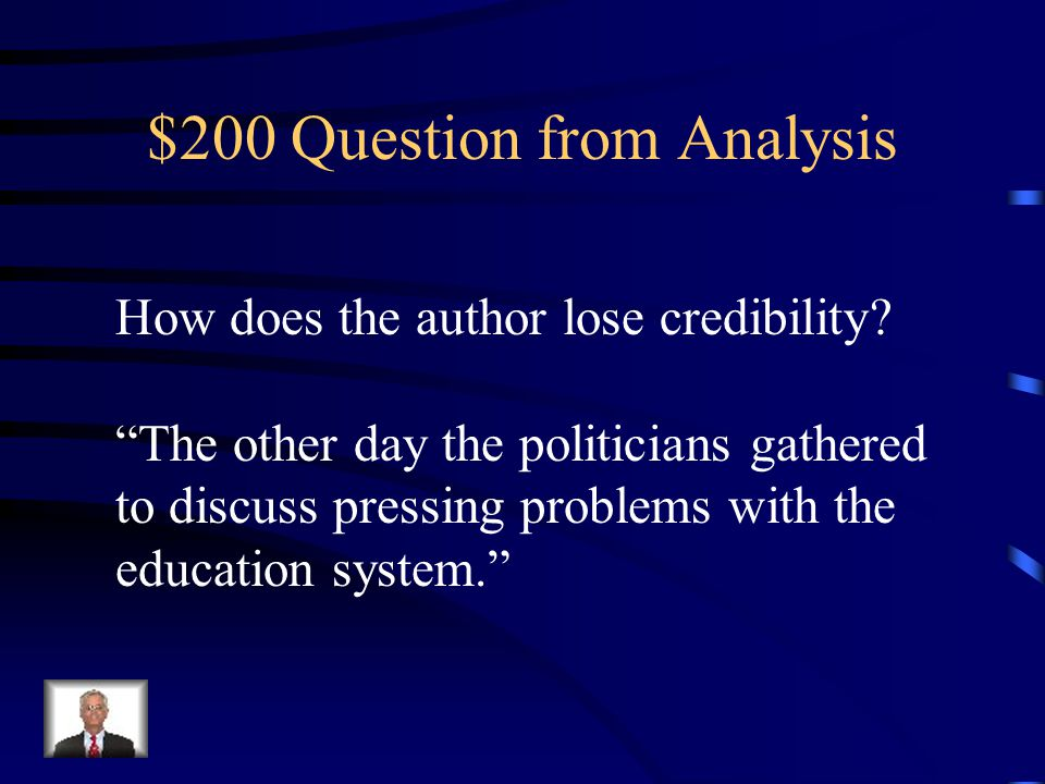 $100 Answer from Analysis There is no proof to support the author's claim