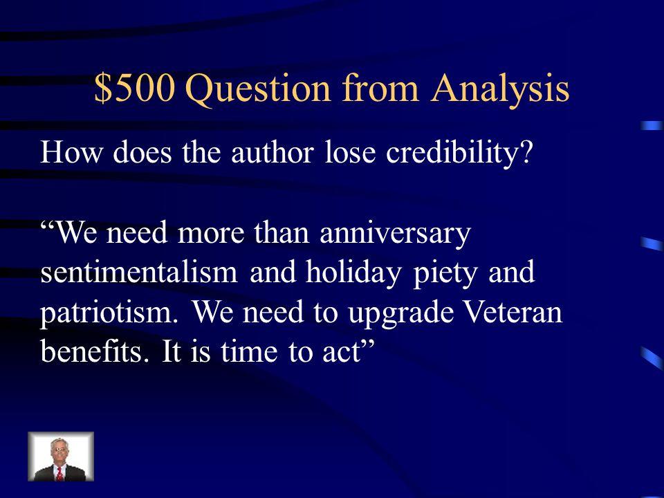 $400 Answer from Analysis Informal language