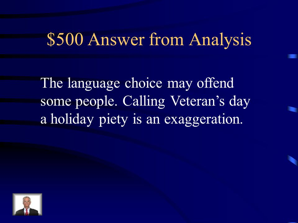 $500 Question from Analysis How does the author lose credibility.