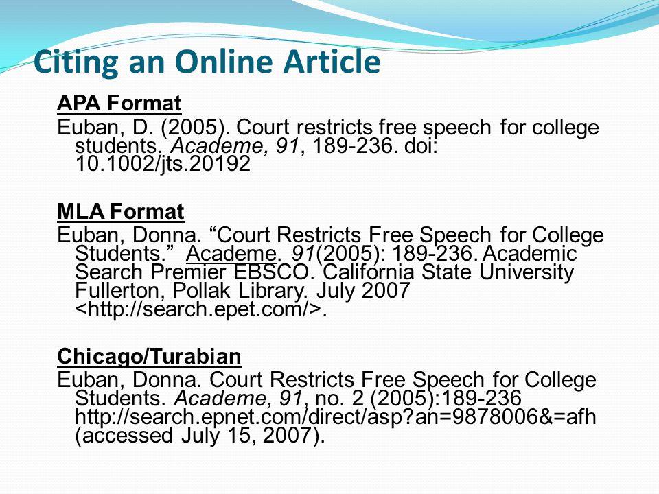 Citing an Online Article APA Format Euban, D. (2005).