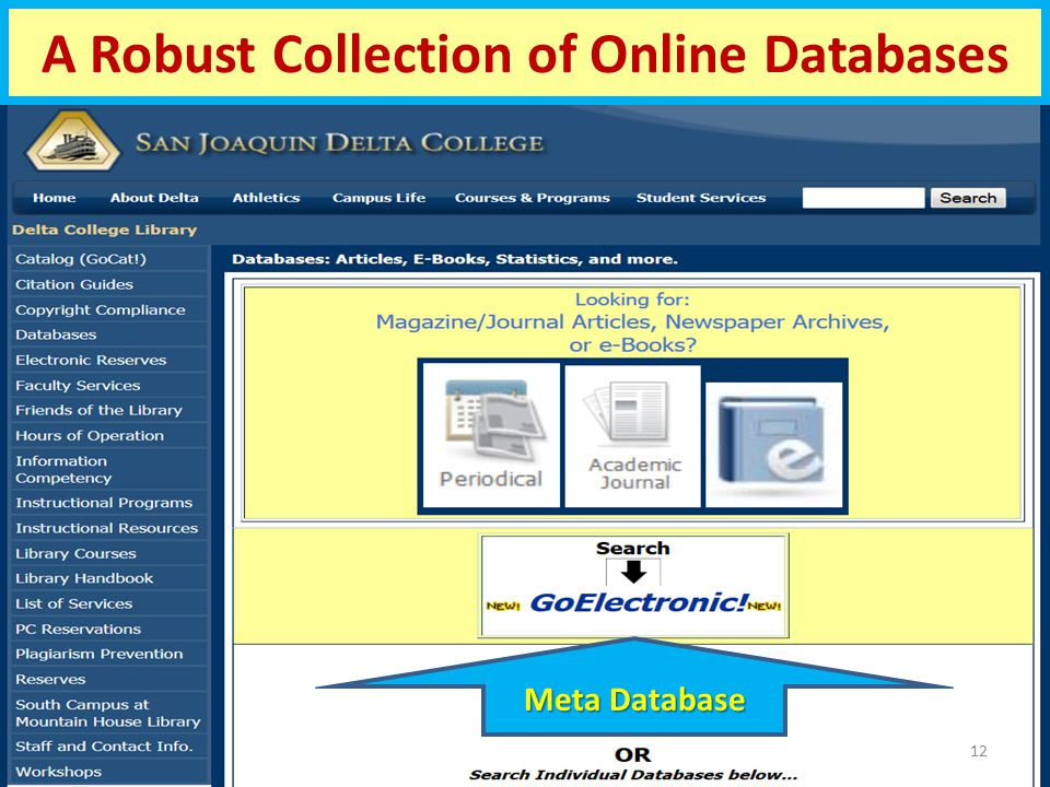 A Robust Collection of Online Databases 12 Meta Database