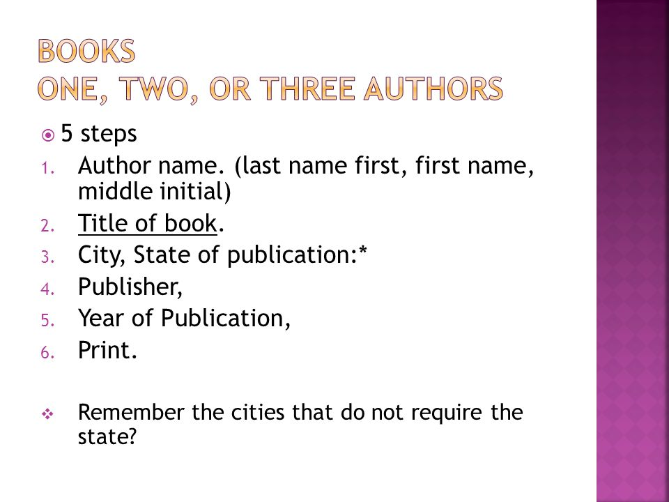  5 steps 1. Author name. (last name first, first name, middle initial) 2. Title of book. 3. City, State of publication:* 4. Publisher, 5. Year of Pub