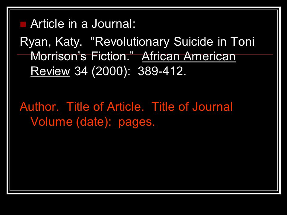 Article in a Journal: Ryan, Katy.