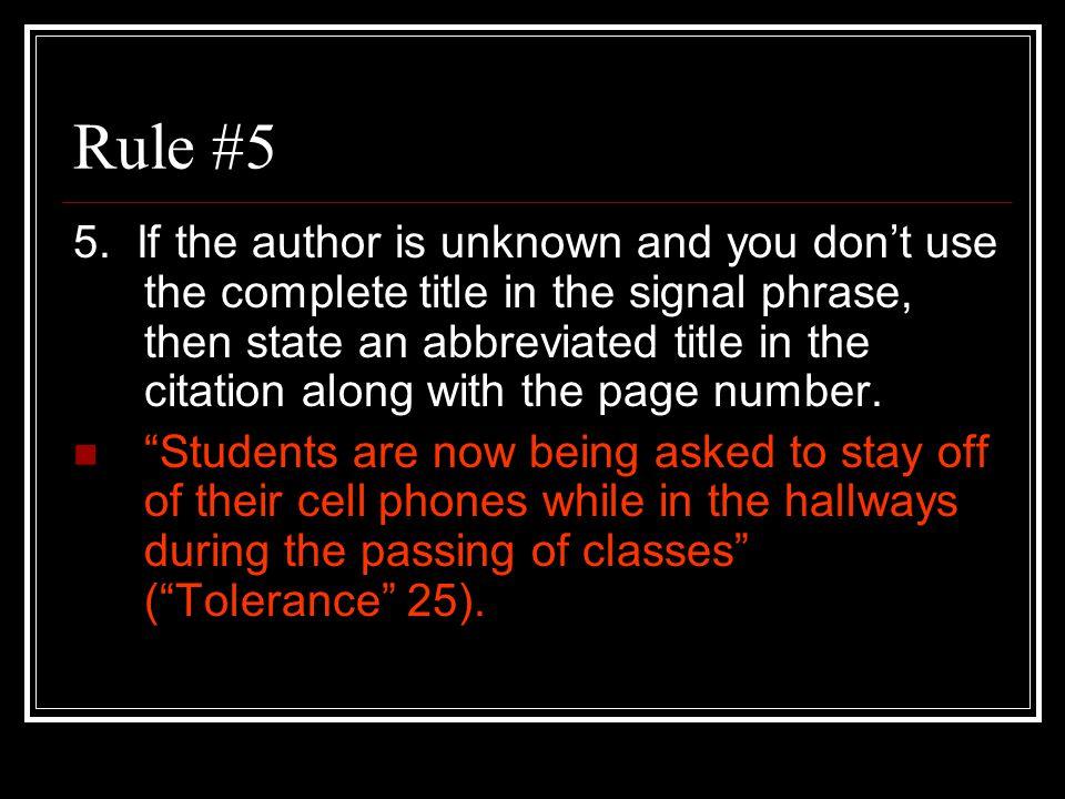 Rule #5 5.