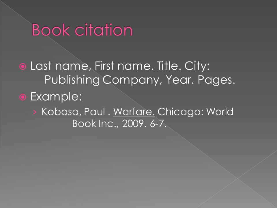  Last name, First name. Title. City: Publishing Company, Year.