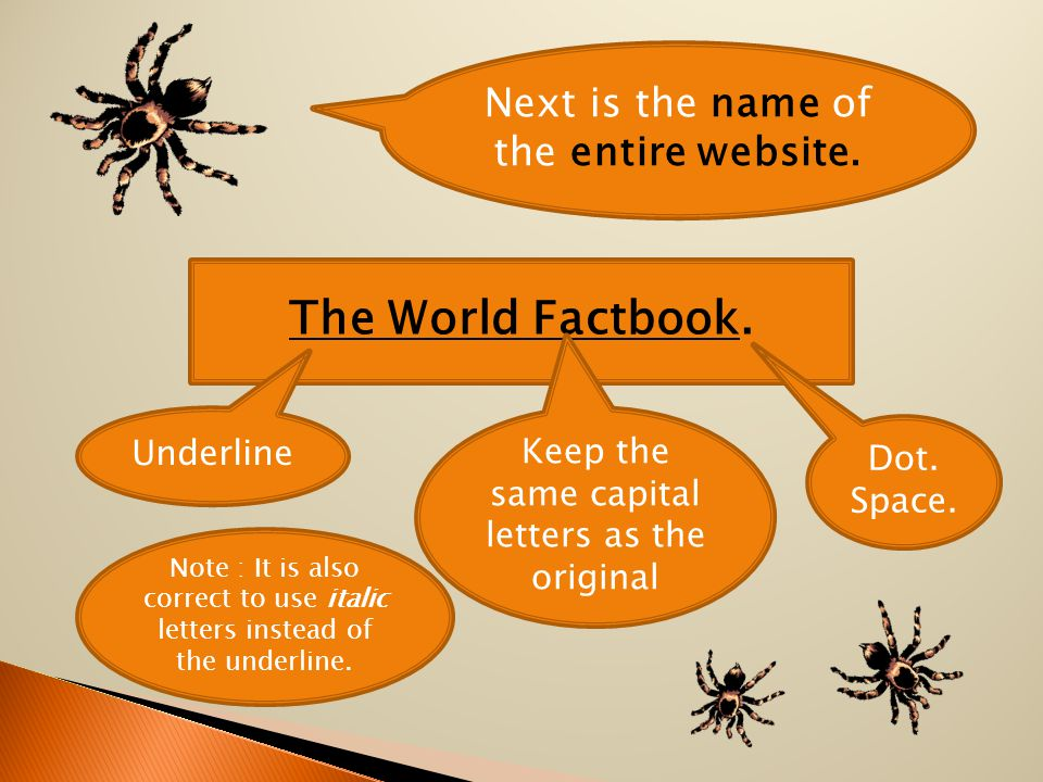 Next is the name of the entire website. The World Factbook.