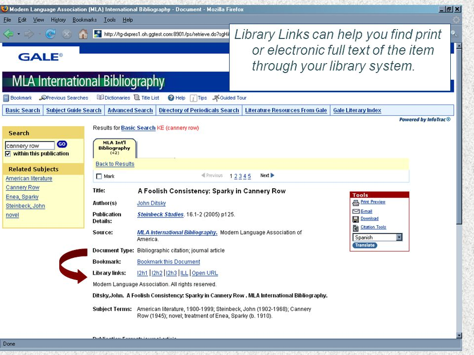 Library Links can help you find print or electronic full text of the item through your library system.