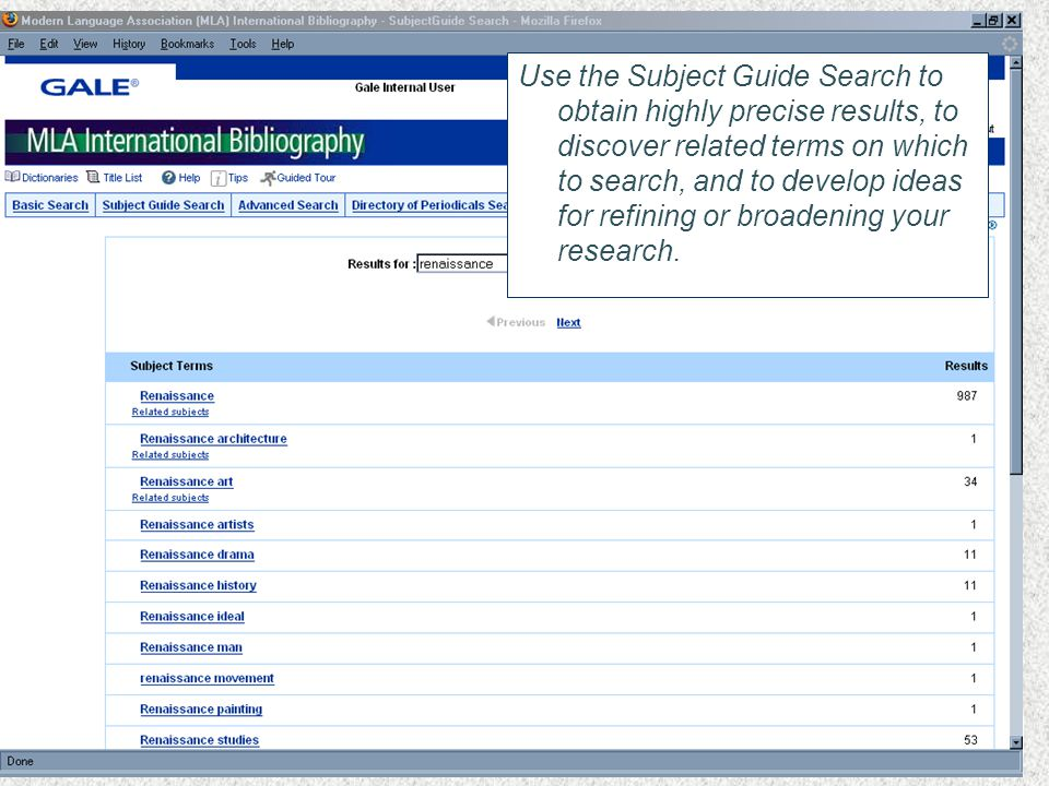 Use the Subject Guide Search to obtain highly precise results, to discover related terms on which to search, and to develop ideas for refining or broadening your research.