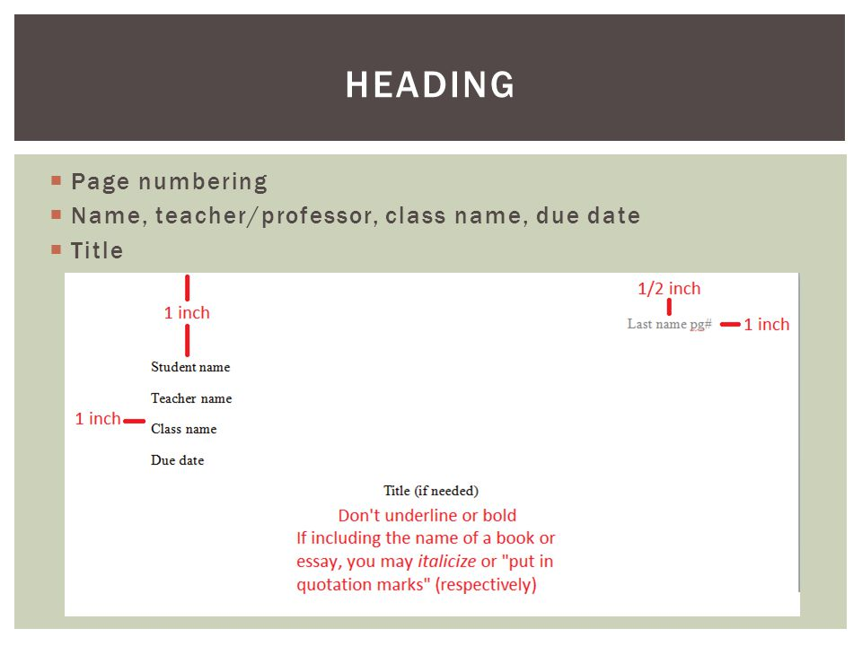  Page numbering  Name, teacher/professor, class name, due date  Title HEADING