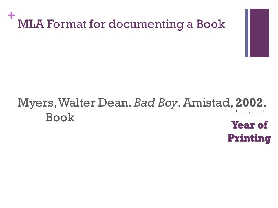 + Myers, Walter Dean. Bad Boy. Amistad, 2002. Book MLA Format for documenting a Book