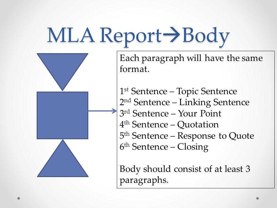 MLA Report  Conclusion 1 st Sentence – Restate the Thesis Statement Next 3-4 Sentences – Close the Scene Last Sentence – Memorable Statement
