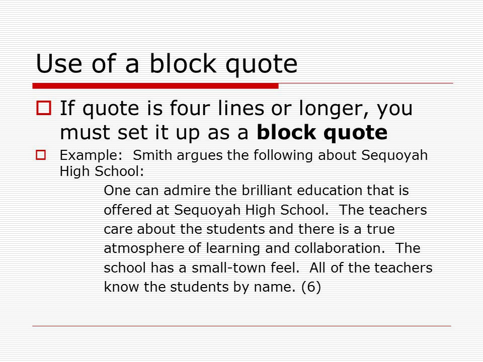 block quoting in a research paper