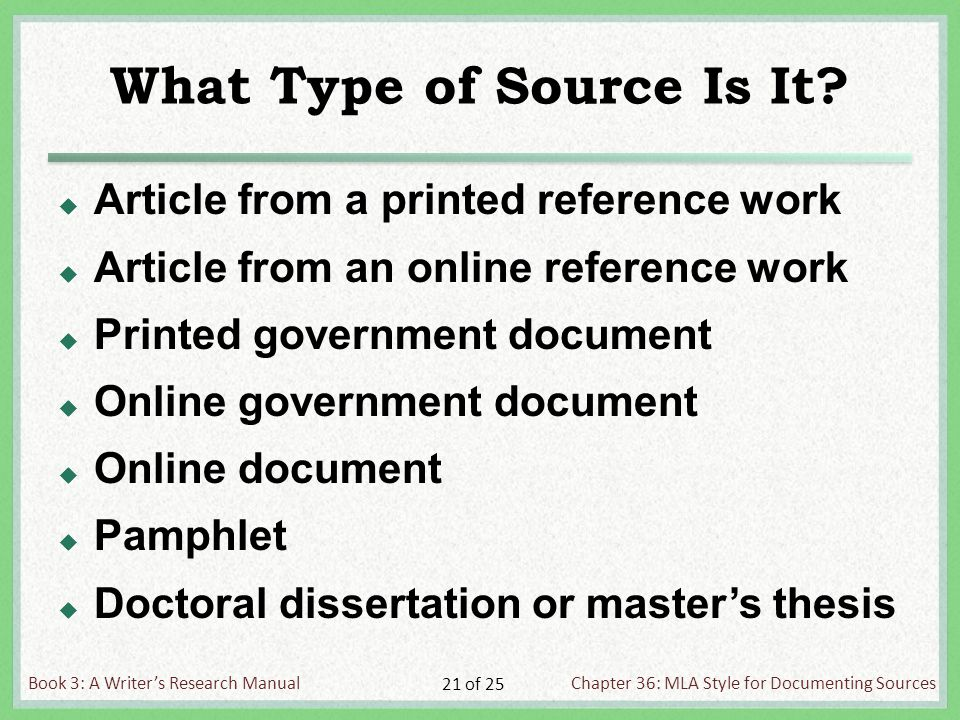 Book 3: A Writer's Research ManualChapter 36: MLA Style for Documenting Sources 21 of 25 What Type of Source Is It.