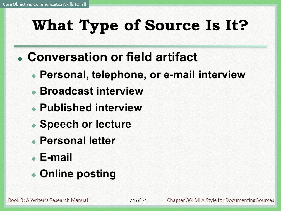 Book 3: A Writer's Research ManualChapter 36: MLA Style for Documenting Sources 24 of 25 What Type of Source Is It.