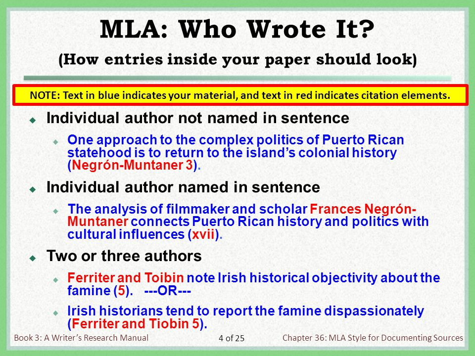 Book 3: A Writer's Research ManualChapter 36: MLA Style for Documenting Sources 4 of 25 MLA: Who Wrote It.