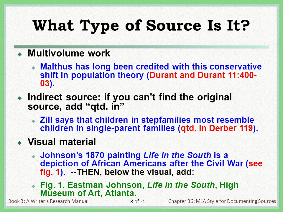 Book 3: A Writer's Research ManualChapter 36: MLA Style for Documenting Sources 8 of 25 What Type of Source Is It.