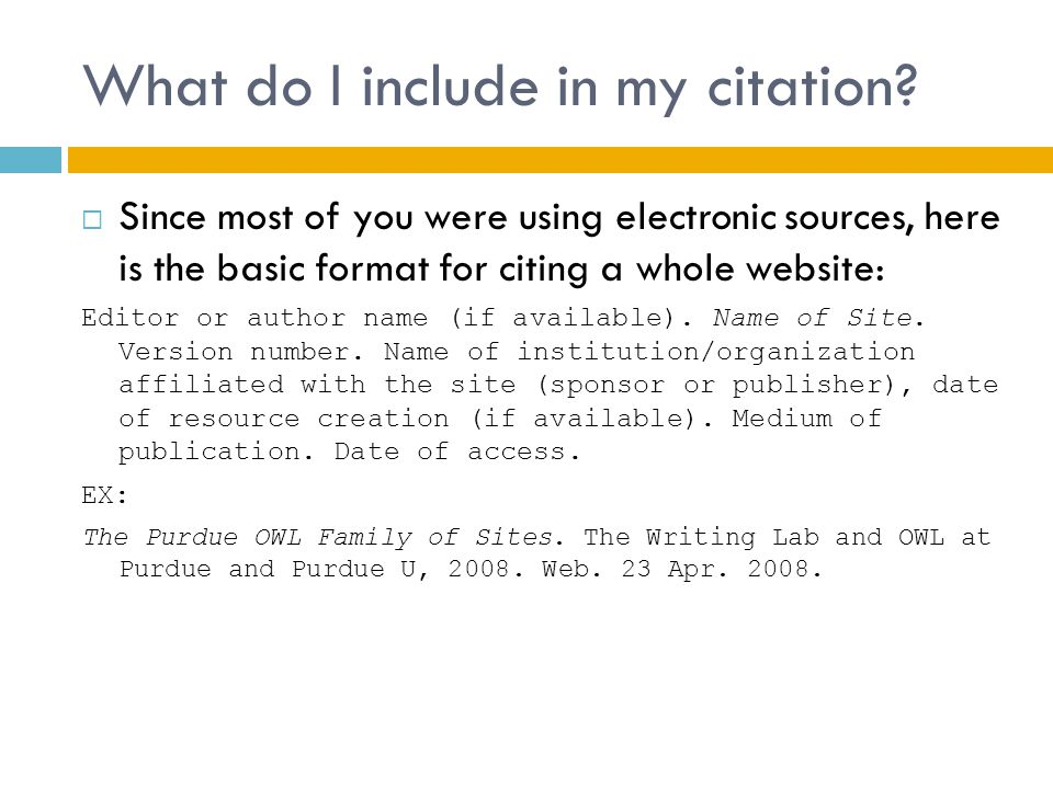 What do I include in my citation.