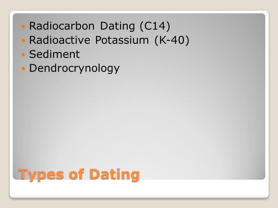 Types of Dating Radiocarbon Dating (C14) Radioactive Potassium (K-40) Sediment Dendrocrynology