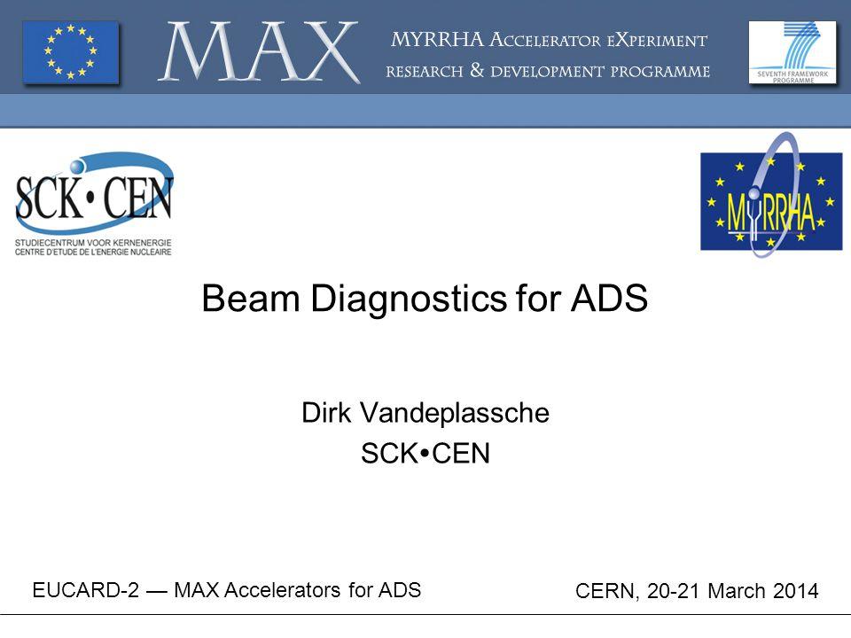 Beam Diagnostics for ADS Dirk Vandeplassche SCK  CEN EUCARD-2 — MAX Accelerators for ADS CERN, 20-21 March 2014