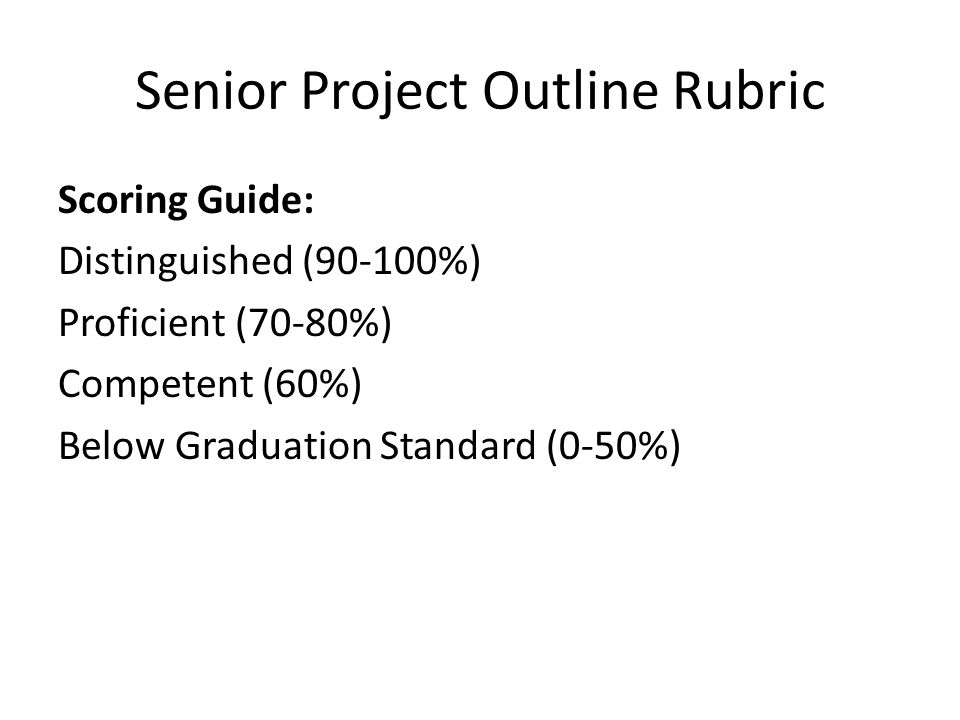 Senior Project Outline Rubric Scoring Guide: Distinguished (90-100%) Proficient (70-80%) Competent (60%) Below Graduation Standard (0-50%)
