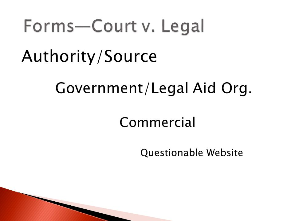 Authority/Source Government/Legal Aid Org. Commercial Questionable Website