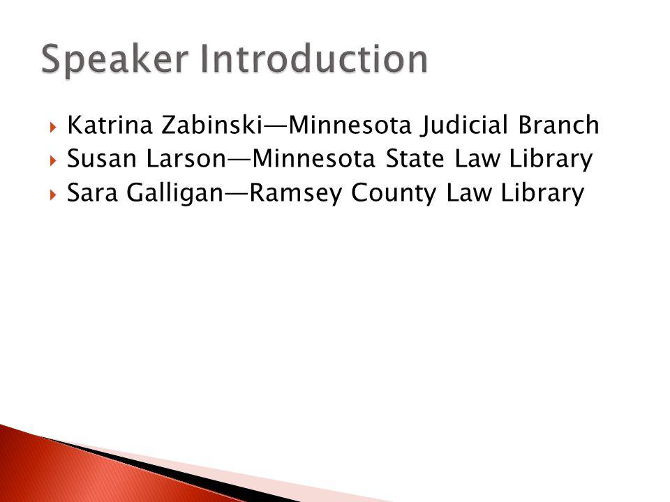  Katrina Zabinski—Minnesota Judicial Branch  Susan Larson—Minnesota State Law Library  Sara Galligan—Ramsey County Law Library