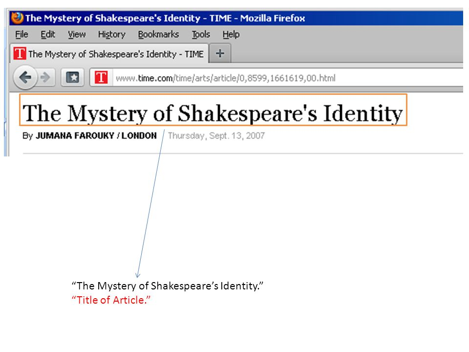 The Mystery of Shakespeare's Identity. Title of Article.
